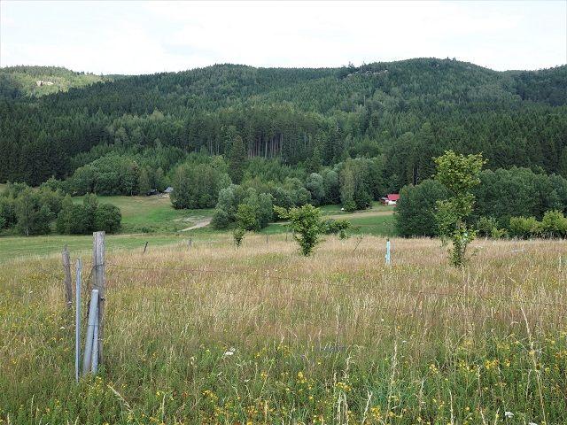 Pohled přes pozemek k chatám